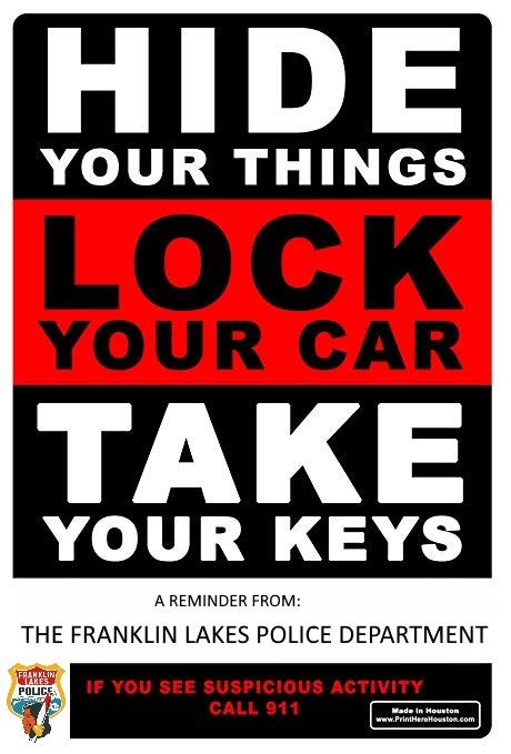 Auto Theft Prevention >> Auto Theft Prevention Tips 2019 Borough Of Franklin Lakes
